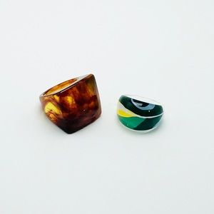 2 vintage lucite rings